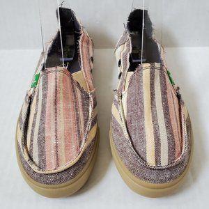 SANUK Striped Canvas Slip On Loafers  7